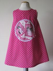 Achter: Miiaauw! pink kittycats katoenen jurkje. Artikelcode 98-015.