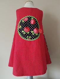 Achter: Ik geef je een roosje..., so cute katoenen jurkje dat gevoerd is. Artikelcode 98-022.