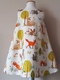 Voor: Bosdieren, so cute katoenen jurkje. Artikelcode 104-025. Prijs: 34,95 excl. verzendkosten.