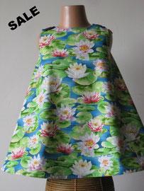 Voor: Waterlelies, so cute katoenen jurkje. Artikelcode 104-012. Prijs: 29,95 excl. verzendkosten.