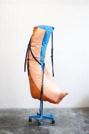 Freund auf Rollen, Acrylic paint on cotton, various textiles, stuffing material, zipper, metal, buckle, 173 x 80 x 50 cm, 2020