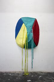 halte fest, Acrylic paint on cotton, various textiles, stuffing material, hooks, 213 x 95 x 35 cm, 2020