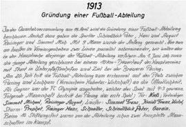 Historisches Schriftstück zur Gründung der Fussball-Abteilung