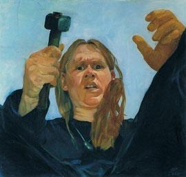 Annette Fritze/ Mit Hammer/ Öl auf Leinwand/ 80x80