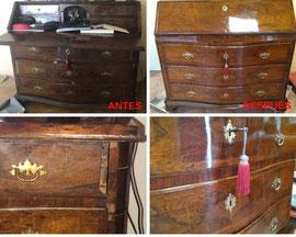 Restauración de cómoda-escritorio de nogal del siglo XIX.