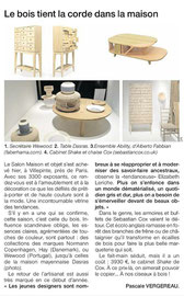 OUEST FRANCE - TABLE BASSE COLLECTION LATITUDE - MAISON & OBJET JANV 2015