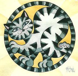 Aquarelle Chat par Artiste peintre à Nantes