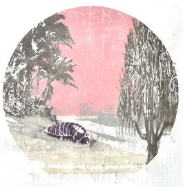 Asta Rode,  Strandgut, Ölfarbe auf Papier, 85 x 85 cm, 2012