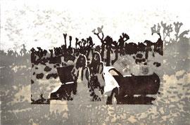 Asta Rode,  Schwestern, Ölfarbe auf Papier, 66 x 100 cm, 2012