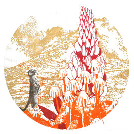 Asta Rode,  Vulkan, Ölfarbe auf Papier, 110 x 110 cm, 2012