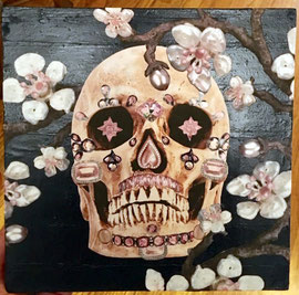 Cherry Bloom mixed media on panel  Vanessa Chase  $150