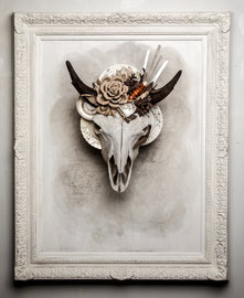 Winter Solstice  Bison/Buffalo skull with mixed media  Marcy Lally  $3775