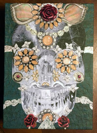 Crystal Skull w/ Pink Coral   mixed media on panel  Vanessa Chase   $150