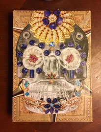 Crystal Skull with Saphire  mixed media on wood panel  Vanessa Chase  $100