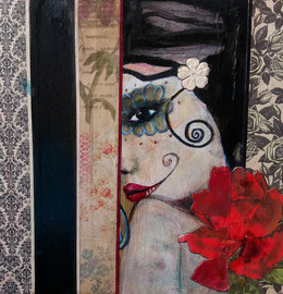 Dia de Amor  collage on Wood panel   Teresa Magel  SOLD