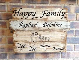 """tableau """"Happy family"""" personnalisable vieilli poncé"""
