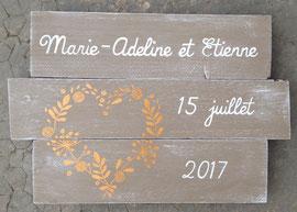 """Mariage tableau """"Coeur champêtre"""" personnalisable vieilli patiné"""