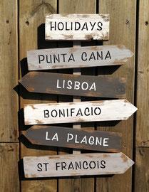 """Panneau directionnel """"Lisboa """" poncé"""