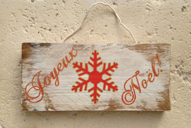 """Noël Pancarte """"flocon rouge"""" personnalisable vieillie poncée"""