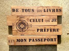 """tableau """"Passeport"""" personnalisable bois"""