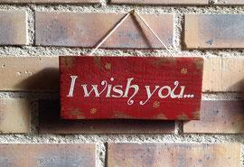 """Noël Pancarte """"I wish you rouge"""" personnalisable vieillie poncée"""