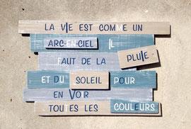 """tableau """"Arc en ciel"""" bleu gris personnalisable vieilli patiné"""
