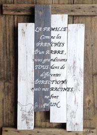 """tableau """"petit famille"""" personnalisable vieilli poncé"""