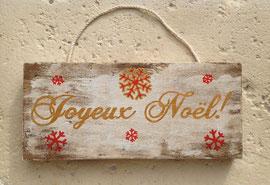 """Noël Pancarte """"petits flocons rouge"""" personnalisable vieillie poncée"""