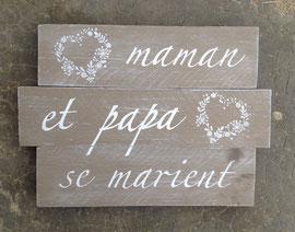 """Tableau """"Mariage faire part"""" personnalisable vieilli patiné"""