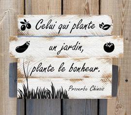 """tableau """"jardin"""" bois personnalisable vieilli poncé"""