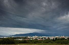Aussicht auf Reykjavik von Perlan aus