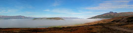 Panorama Nebel über dem  Fjord Eyjafjörður