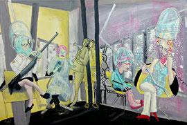 Der Saloon, Acryl-Mischtechnik, Leinwand 60 x 90cm,2015, verkauft