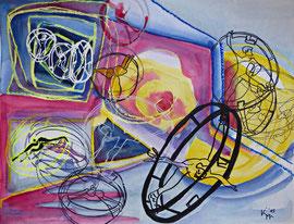 Balance 2, (Rolling), Aquarell-Mischtechnik, 50 x 65cm, 2015