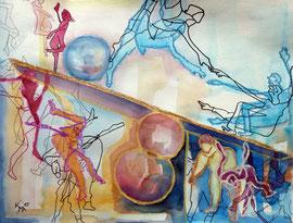 Balance 3, (auf der Wippe), Aquarell-Mischtechnik, 50 x65cm, 2015