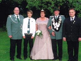 Brudermeister Heinz-Jakob Spies, Schülerprinz Lukas Wirtz, Josefine Worch, 1. Kaiser Herbert Engels, Präses Andreas Galbierz