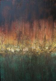Fabien Bruttin, Esprit forestier, 2017, 70x100 cm, technique mixte sur MDF