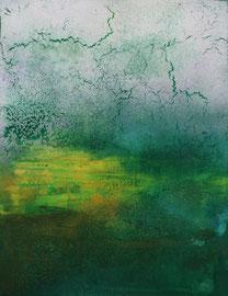 "Fabien Bruttin, ""Green clouds"", 2014, 40x50 cm (15.7x19.7 in), technique mixte sur MDF"