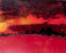 """Fabien Bruttin, """"Horizon rouge I"""", 2012, 80x100 cm (31.5x39.4 in), technique mixte sur MDF"""