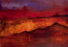 """Fabien Bruttin, """"Mountain 3"""", 2012, 70x100 cm (27.5x39.4 in), technique mixte sur MDF"""