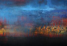 """Fabien Bruttin, """"Coolure"""", 2014, 70x100 cm (27.5x39.4 in), technique mixte sur MDF"""
