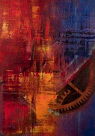 """Fabien Bruttin, """"Rouages"""", 2012, 70x100 cm (27.5x39.4 in), technique mixte sur MDF"""