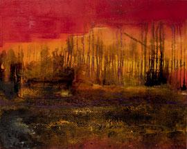 """Fabien Bruttin, """"Martian Landscape"""", 2012, 80x100 cm (31.5x39.4 in), technique mixte sur MDF"""