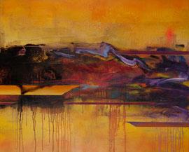 "Fabien Bruttin, ""Fire on the Opera House (Intuition bergsonnienne I)"", 2012, 80x100 cm (31.5x39.4 in), technique mixte sur MDF"