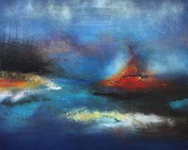 "Fabien Bruttin, ""Volcanic island"", 2014, 80x100 (31.5x39.4 in), technique mixte sur MDF"