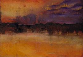 """Fabien Bruttin, """"Mountain 1"""", 2012, 70x100 cm (27.5x39.4 in), technique mixte sur MDF"""