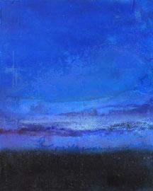 """Fabien Bruttin, """"Bleu calme plat"""", 2014, 40x50 cm (15.7x19.7 in), technique mixte sur MDF"""