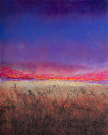 Fabien Bruttin, Purple Sunset, 2019, 40x50cm, technique mixte sur bois.