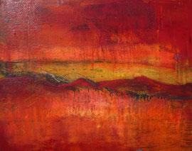 """Fabien Bruttin, """"Montagne rouge"""", 2012, 40x50 cm (15.7x19.7 in), technique mixte sur MDF"""