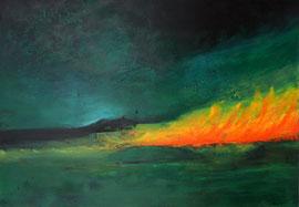 """Fabien Bruttin, """"Incendie"""", 2014, 70x100 cm (27.5x39.4 in), technique mixte sur MDF"""